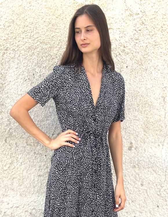 Alef Alef   אלף אלף - בגדי מעצבים   שמלת LAILA כתמים שחור לבן