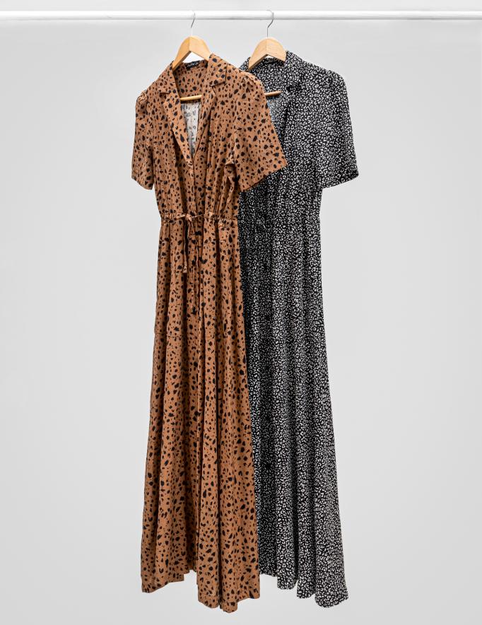 Alef Alef   אלף אלף - בגדי מעצבים   שמלת LAILA מנומר