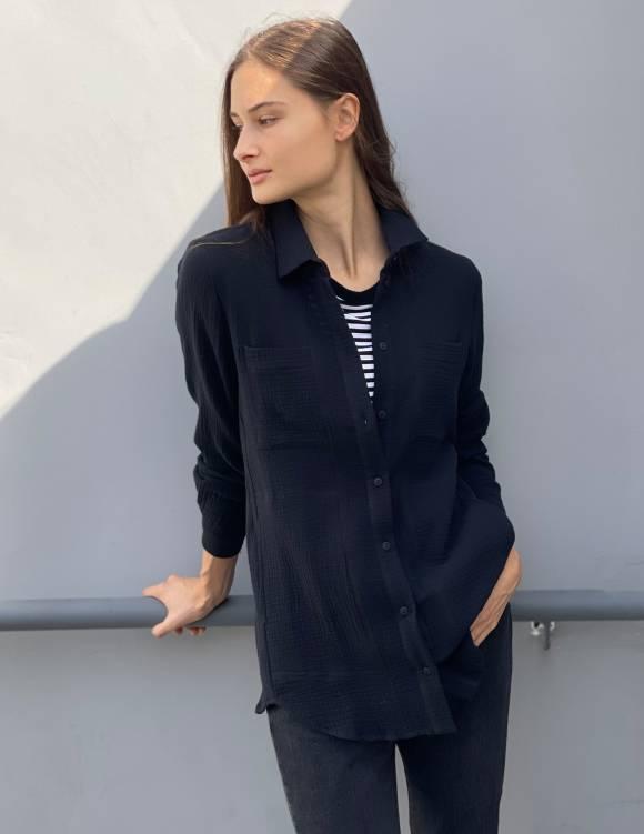 Alef Alef   אלף אלף - בגדי מעצבים   חולצת MANTE שחור