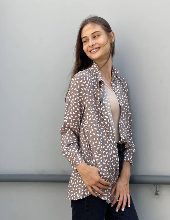 Alef Alef | אלף אלף - בגדי מעצבים | חולצת  FRIO מוקה דפוס לבן