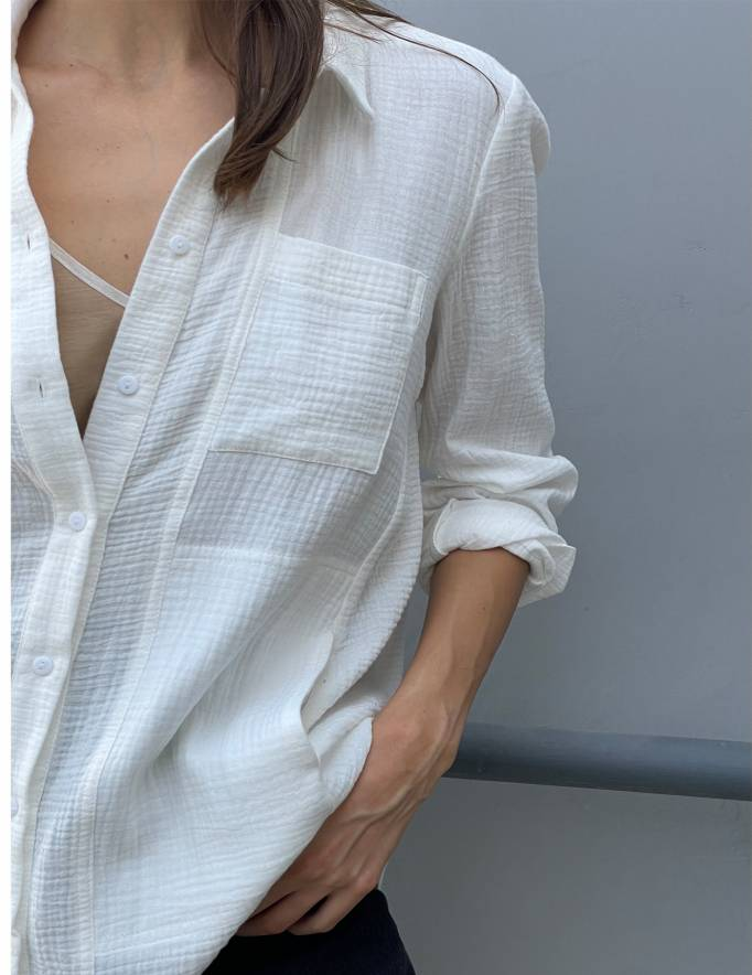 Alef Alef   אלף אלף - בגדי מעצבים   חולצת MANTE שמנת