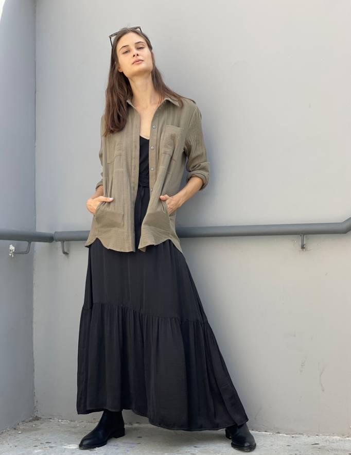 Alef Alef | אלף אלף - בגדי מעצבים | חולצת MANTE זית