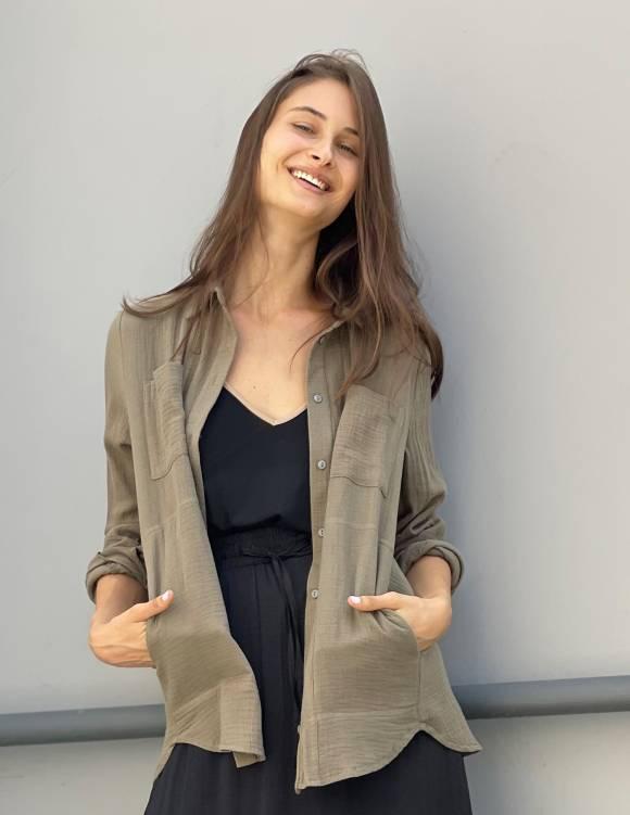 Alef Alef   אלף אלף - בגדי מעצבים   חולצת MANTE זית